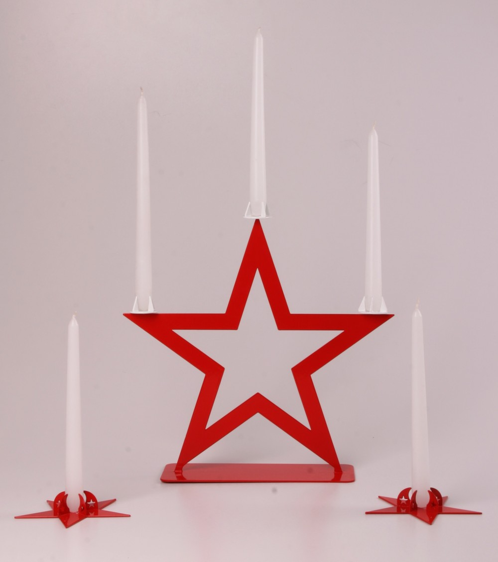 3-Candles Candleholder STAR